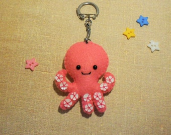 Octopus Keychain pink felt