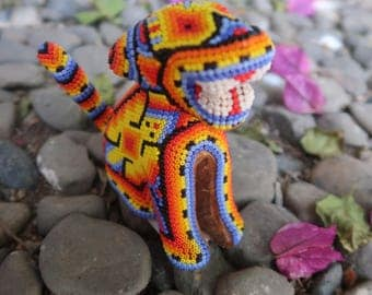 JAGUAR carved wood handmade beaded by mexican Huichol artesans