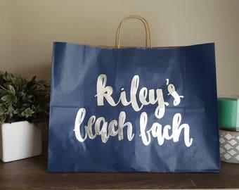 Beach Bachelorette Party Gift Bags - Last Splash - Beachelorette - Custom Gift Bags - Handlettered Gift Bags - Modern Calligraphy Gift Bags