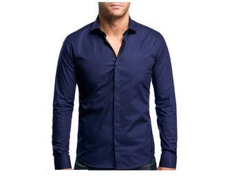 Fitted shirt 100% cotton long sleeve - Navy - blue moon