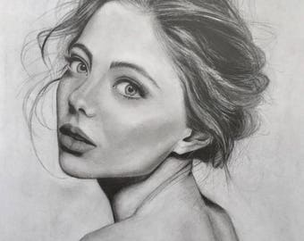 Graphite drawing ' She '