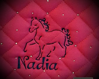 Custom, Bling and Embroidered All Purpose English Saddle Pad with  Swarovski Crystals and Horse Over Name Design. Personalized with ANY FONT