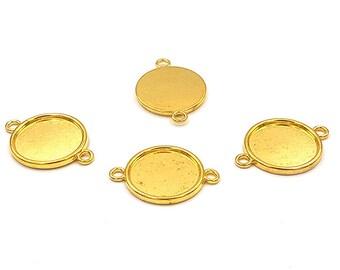 10 Golden plate connectors 20mm cabochon