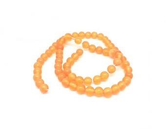 65 6mm Orange color cat eye beads