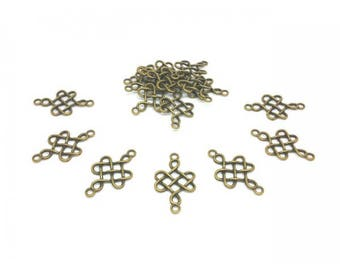 50 Bronze 31x18mm Arabesque shape connectors