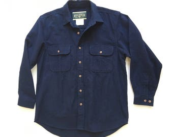 Navy Heavy Flannel Long Sleeve Button Up Field and Stream Men's m/l