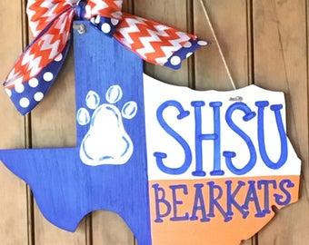 "SHSU Bearkats Blue and Orange Texas Flag 15"" MDF - made to order"