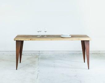Modern industrial wood dining table with reclaimed wood, THE CORTEN KENT mounted on custom designed Corten Steel legs using repurposed wood,