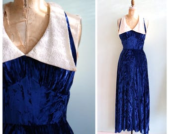 Vintage 1970's Crushed Blue Velvet Gown | Size Small