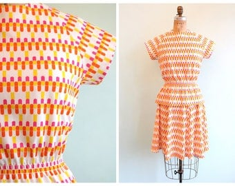 Vintage 1970's Bright Novelty Print Skirt and Blouse Set | Size Small
