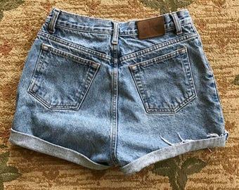VTG 90s Calvin Klein High Waisted Denim Cutoff Shorts Size: 26""