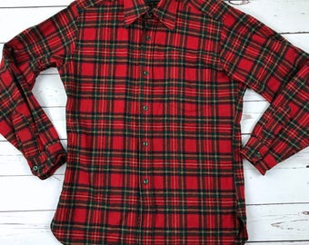 VTG 90s Pendleton 100% Virgin WOOL Red Plaid Flannel Button Down Shirt M Made in USA Mens