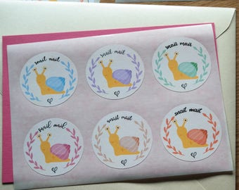 Snail mail (multicolour) - 12 stickers