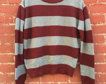 Classic Vintage Striped Itish Stitch Sweater