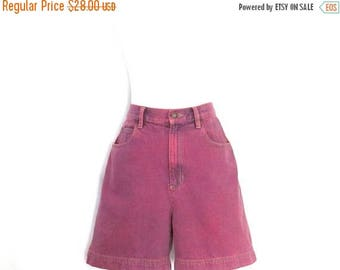 Vintage Lizwear Upcycled Jean Shorts Custom Dyed Denim Shorts 90's High Waist Overdyed Dark Pink Jean Shorts Women's Size 10 Shorts
