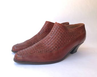 Vintage Woven Leather Ankle Booties Women's Size 8.5