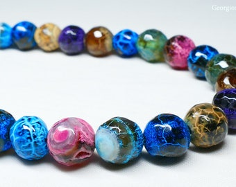 Colorful Beaded Agate Stone Long Necklace