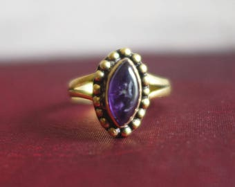 Indian brass and Amethyst stone ring