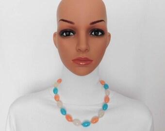 Aqua Coral White Silver Bead Necklace