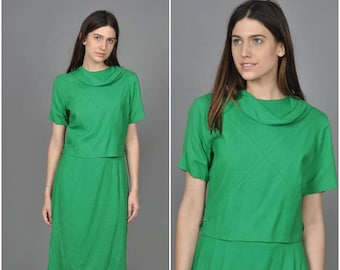 1960s Leap Day dress | vintage 1960s dress | green linen 60s dress