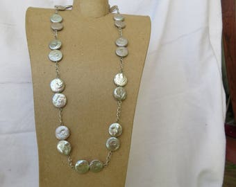 Silver grey coin pearl station necklace with matching earrings set