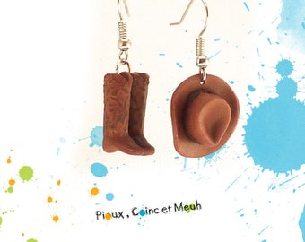 Boots and cowboy hat - earrings