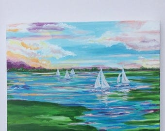 Sailing painting in Bright Lilly Pulitzer inspired colors.  18 x 24 original painting