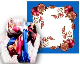 Pomegranate scarf, Square scarf, Women silk scarves, Silk scarves, Luxury scarves, Designer scarf, Large silk scarf, Bohemian scarf