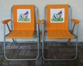 Canvas highchair, children's folding chair, camping chair, Jacquelyn and Janneke, foldable high chair, camping, children's room, 70s orange, boho kids, 70s