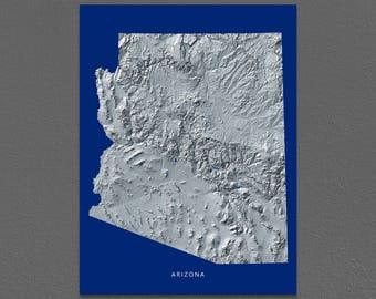 Arizona Map, Arizona Wall Art, AZ State Art Print, Landscape, Navy Blue