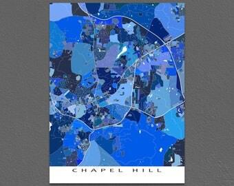 Chapel Hill Map Art Print, Chapel Hill, North Carolina, City Wall Maps