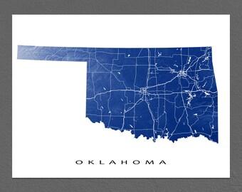 Oklahoma Map, Oklahoma State Art Print, USA