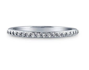 Thin Sterling Silver Half Eternity CZ Ring,  Wedding Band,  Bridal Ring, Pave Wedding Band, Dainty Pave Band Ring