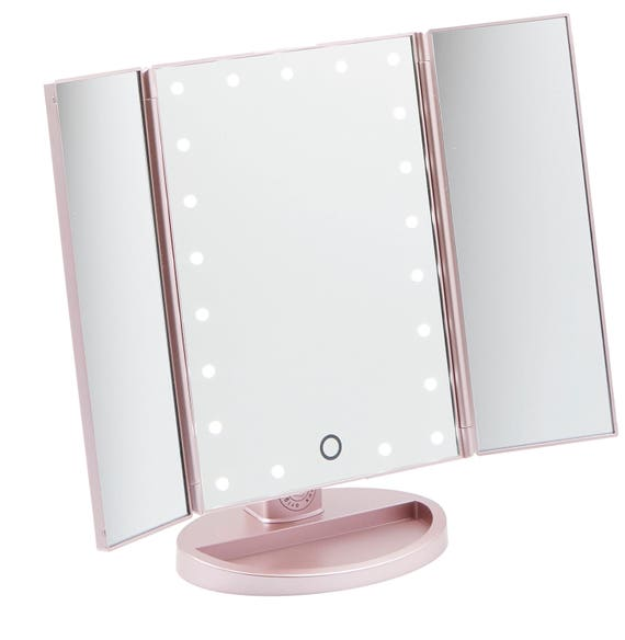 Rose Gold 3 Way Vanity Mirror Led Lights With Folding Mirror
