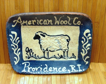 Vintage american wool co providence rhode island plate -turtle creek pottery-old turtlecreek potter- handmade redware sheep plate