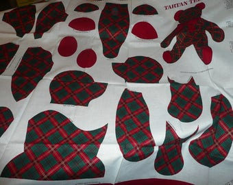 VIP Cranston Tartan Teddy Bear Cotton Fabric Panel To Make