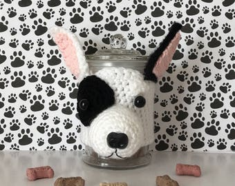 Bullterrier - Dog Treat Jar - White Bull Terrier -  English Bull Terrier - Dog Mommy - Bull Terrier - Bull Terrier Items - Crazy Dog