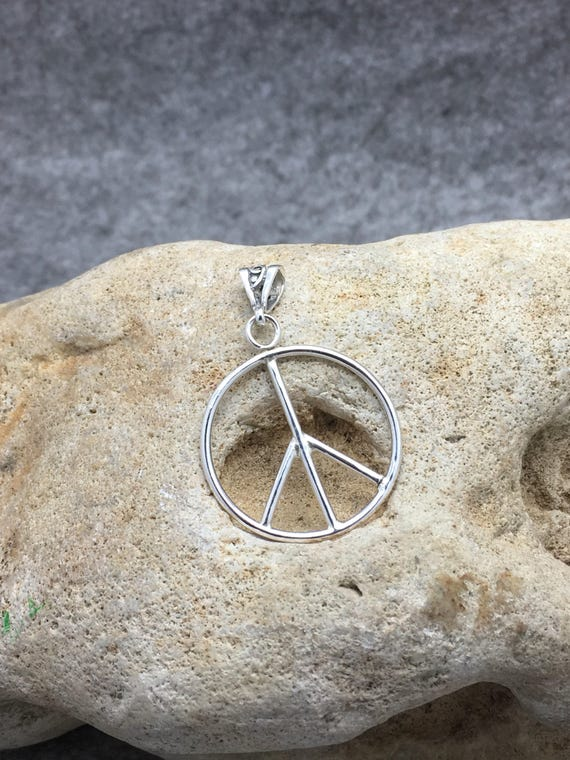 Handcrafted Sterling Silver Peace Symbol Pendant.