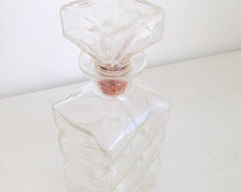 Decanter vintage whiskey glass with embossing (W.Harper). 70's style.