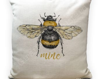 Bee Cushion Pillow Cover - Bee Mine - Be Mine - Honey Bumble Bee vintage Illustration artwork - Home Decor 40cm 16 inch