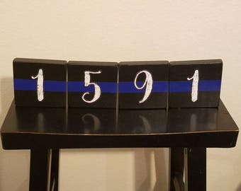 Thin Blue Line/ Thin Red Line - Custom Wooden Blocks with Badge number.