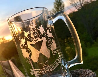 Custom Etched Glass Beer Stein