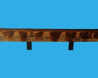 "barn wood shelf with L shaped steel brackets-33-1/4""x4""x3""-shelf 693"