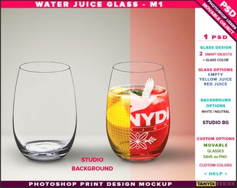 Glass Water Juice M-1 | Empty, Yellow & Red Juice | Photoshop Print Mockup | Tumblers on Studio Background | Smart object Custom colors