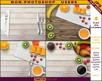Desktop Table Styling | Styled JPG Scenes DT-5 | Non-Photoshop | Wood Table | Breakfast Fruits Cutlery Napkin | Coffee Tea Cup