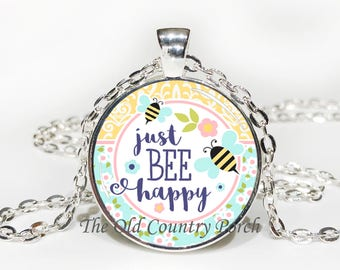 Just BEE Happy Glass Pendant Necklace with Chain
