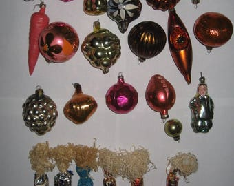 Vintage Soviet glass New Year's Christmas Tree Ornaments USSR 1980