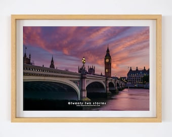 Big Ben At Sunset - Photography Art Print. London Photography Print, Big Ben, Westminster Bridge, London Wall Art, Photos of London.