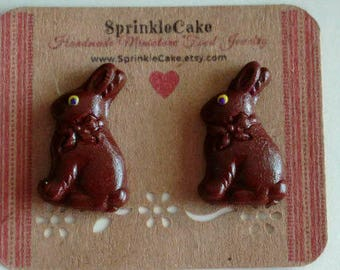 Chocolate Bunny Stud Earrings - Miniature Food Jewelry - Inedible Jewelry - Easter Bunny Earrings - Kid's Jewelry - Kawaii Jewelry - Dessert