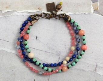 Denim lapis bracelet Pink stone bracelet Pink and green jewelry Jade jewelry Multi strand gemstone bracelet with clasp Colorful bracelet